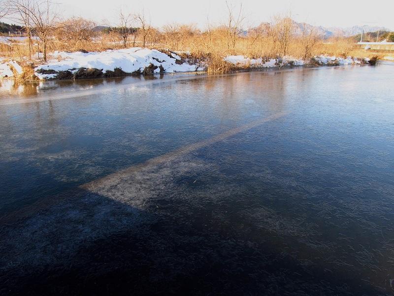 川も凍る寒さ・・・