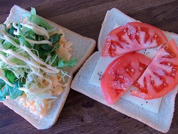 トマトチーズとたまごサンド