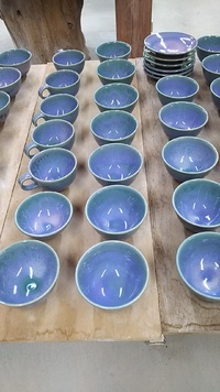自性寺焼紫陽花釉飯碗