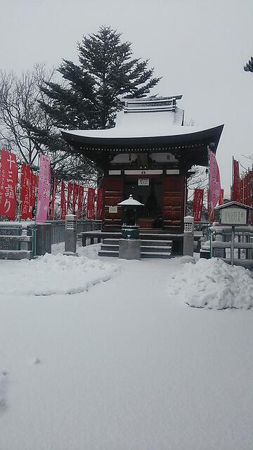 雪の日の白衣観音と慈眼院 その2