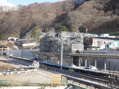 12月下旬の川原湯温泉駅新設工事